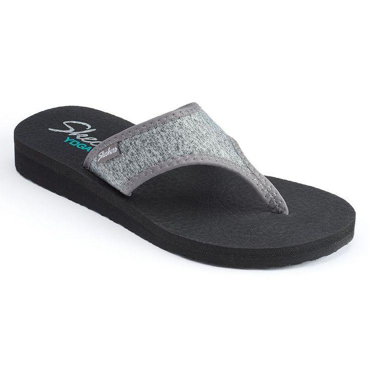 Skechers Meditation Women's Jersey Yoga Mat Wedge Flip-Flops, Size: