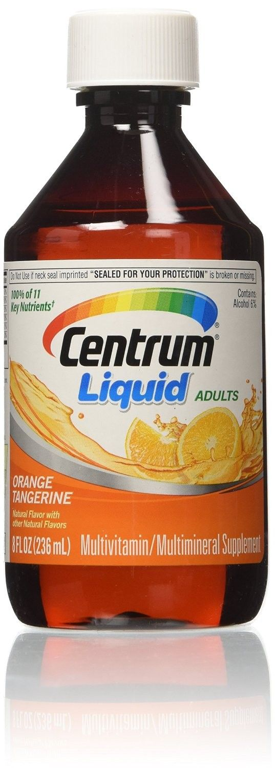 Centrum Multivitamin Multimineral Liquid For Adults Citrus - 8 oz  Supplement diet with centrum multivitamin liquid supplement. This multimineral supplement comes in an easy-to-swallow liquid, making it easy to give body the extra vitamins it needs. The liquid vitamin supplement comes in an 8-oz bottle.