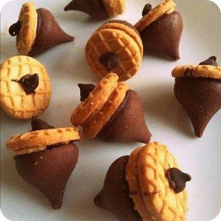 NutterButter cookies and Hersey Kiss Acorns - Bliss!