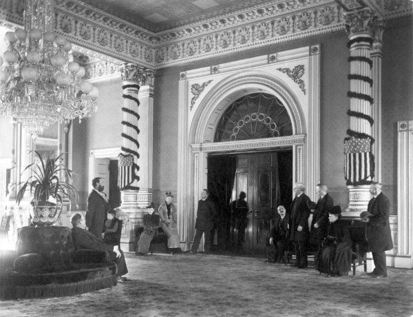 The White House East Room, circa 1894, during the Benjamin Harrison administration.   (Benjamin Harrison Home)