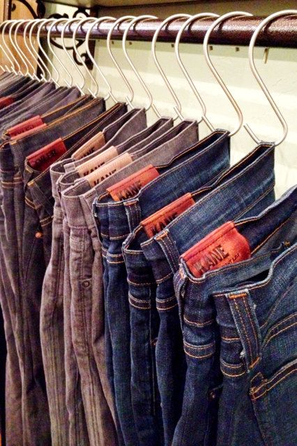 Clever way to hang jeans...wonder if it works that well in real life. Stainless Steel S Hook (set of 10) via Etsy