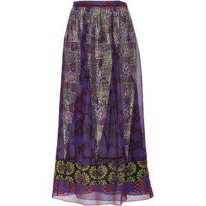 Anna Sui Flower Butterfly Chiffon Patchwork Skirt