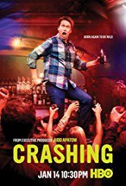 Crashing (HBO-January 14, 2018) a comedy series created by Pete Holmes. A sheltered suburbanite Pete dreams of a big-city career in comedy, but his wife, Jessica, has other ideas. Childhood sweethearts no more after he finds her in an uncompromising position with another man, Pete is suddenly homeless and frantically re-evaluating his priorities to make a new start for himself. Stars: Pete Holmes, Artie Lange, Lauren Lapkus.