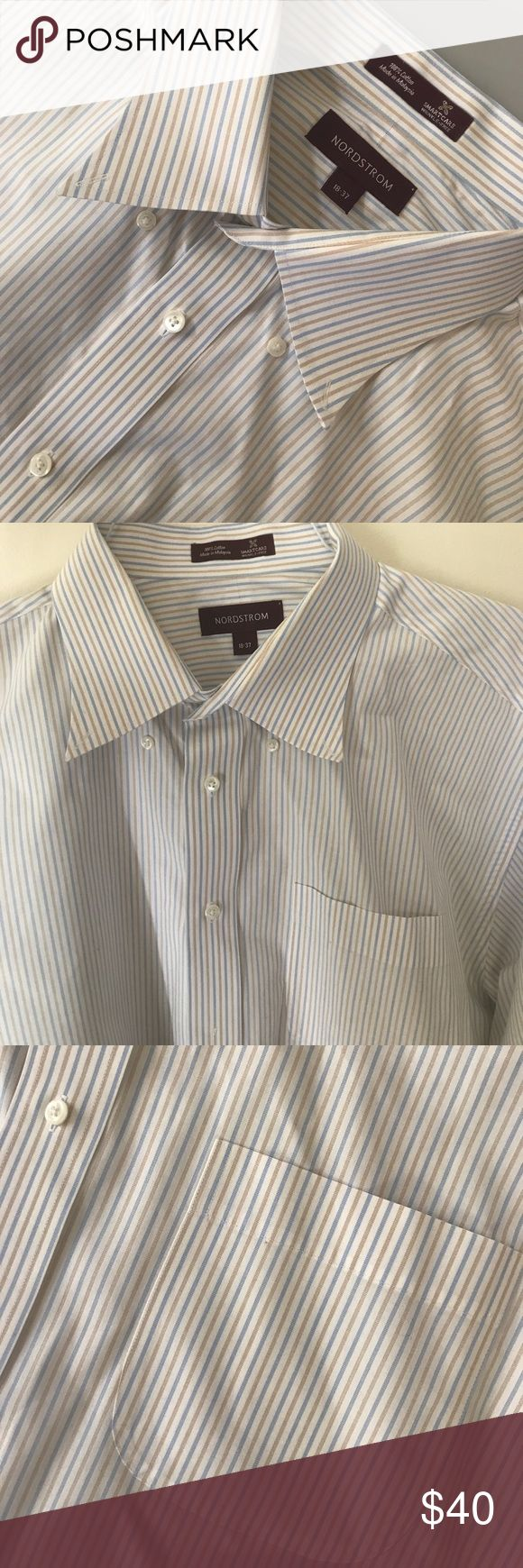 Nordstroms Mens Multi stripped Dress Shirt Mens Wrinkle-resistant cotton defines a versatile dress shirt fitted with a smart button-down collar and rounded, single-button cuffs. 18 neck sleeve 37. Condition: new Nordstrom Shirts Dress Shirts