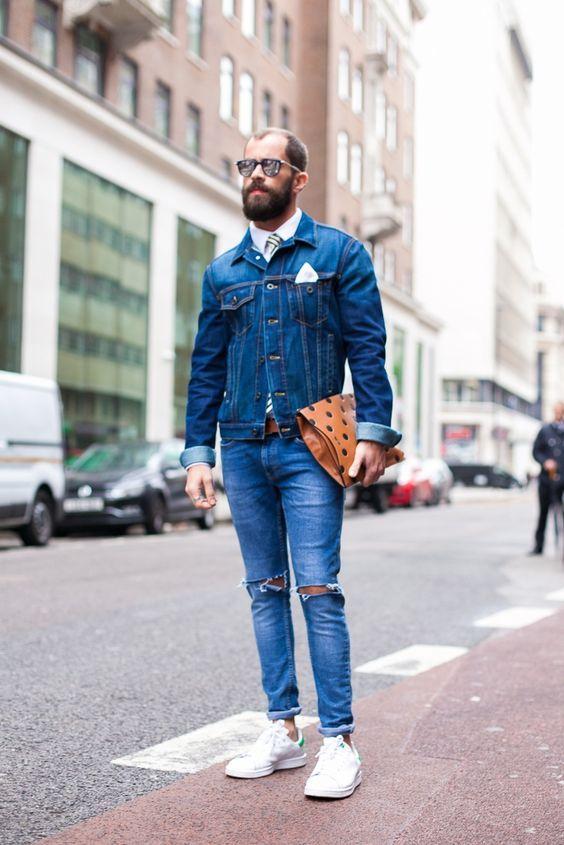 Jaqueta Jeans. Macho Moda - Blog de Moda Masculina: Jaqueta Jeans Masculina: Pra Inspirar e Onde Encontrar. Moda Masculina, Roupa de Homem, Moda para Homens. Jeans com Jeans, All Jeans, Adidas Stan Smith, Calça Rasgada,