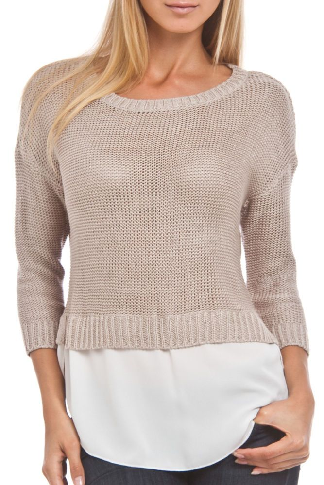 Knitted Sweater w/ Chiffon Trendy Stylish Fresh Top