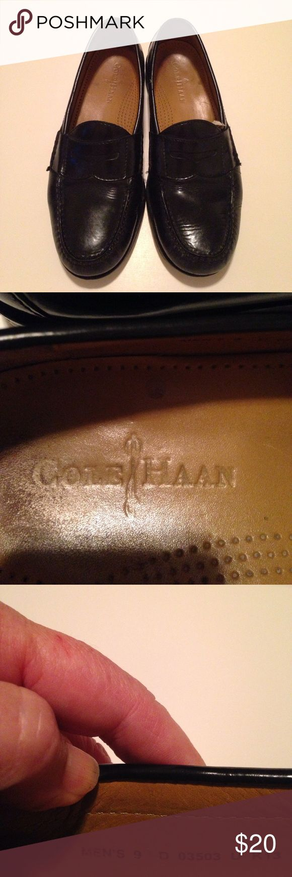 "Cole Haan Men's 9D Loafers GUC...wear spots appear to have been filled with ""Shoe goo"" leveling sole...lots of wear left until new sole needed...D width See image. Cole Haan Shoes Loafers & Slip-Ons"