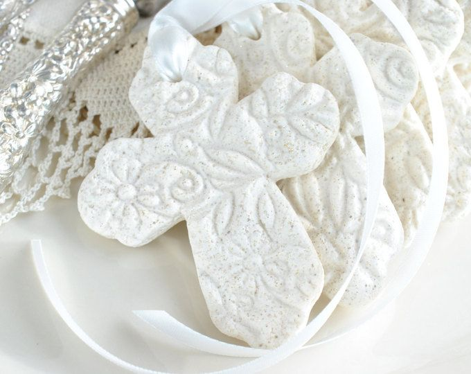 Baptism Favors Imprinted Cross with Ribbon Baptism Favors Set of 6 Salt Dough Napkin Ring / Tie Ornaments