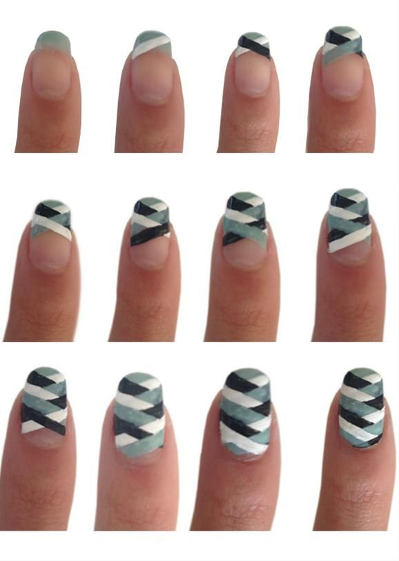 Nail art tutorial. Super cool stripes!