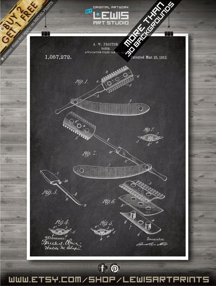 Razor poster, Razor patent, Razor print, Razor Art, Razor Home Decor no120