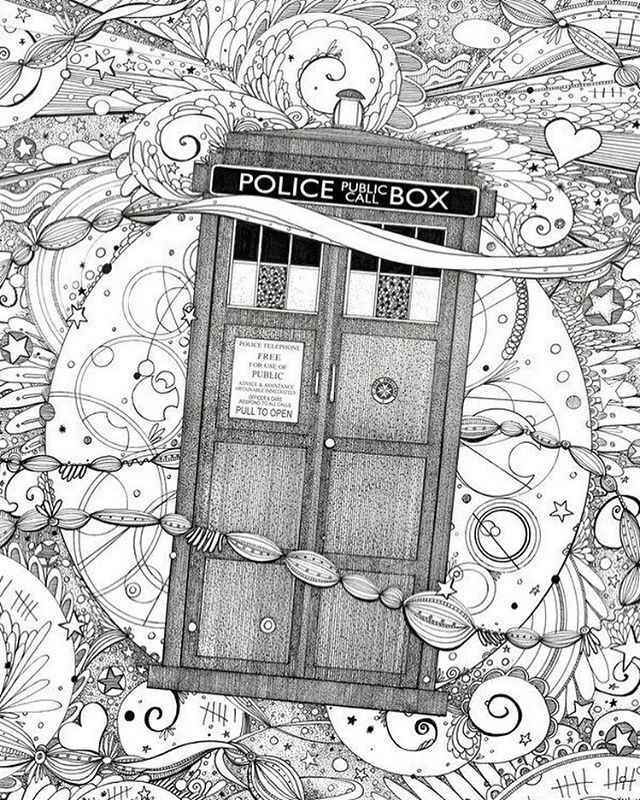 doctor who coloring page dw free page tardis - Doctor Who Coloring Book