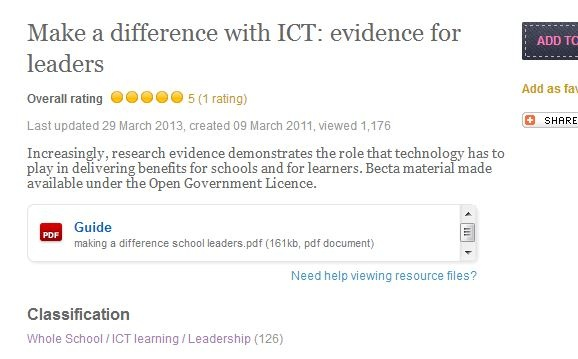 Make a difference with ICT: evidence for leaders. Increasingly, research evidence demonstrates the role that technology has to play in delivering benefits for schools and for learners. Becta material made available under the Open Government Licence.