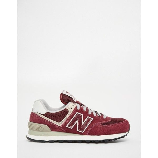 New Balance 574 Burgundy Trainers ($82) ? liked on Polyvore featuring shoes,  sneakers