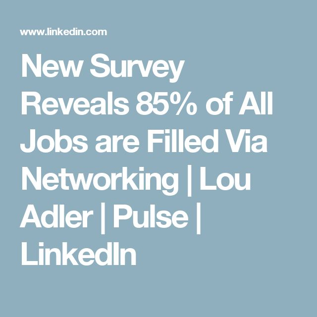 New Survey Reveals 85% of All Jobs are Filled Via Networking | Lou Adler | Pulse | LinkedIn
