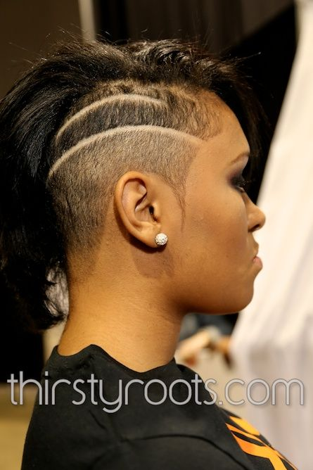 shaved side haircut on a beautiful black woman.