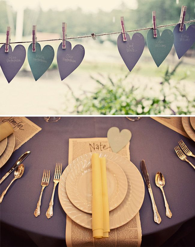 Originally wedding place cards turn into anniversary or wedding card.  Same colors, use clothespins on hemp.