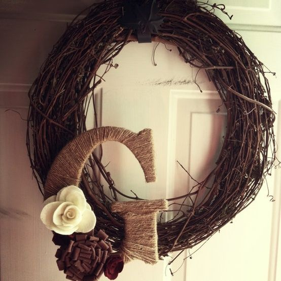 Wreath with Twine Letter and Felt Flowers by pinkpineappledesigns, $20.00 - MyHomeLookBook
