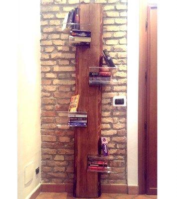 mensola libreria in legno a colonna con plexiglass
