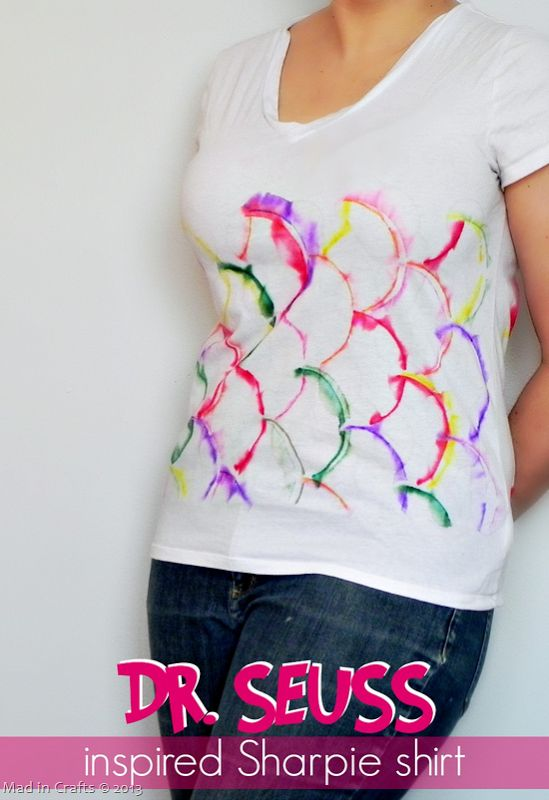 Seuss-Inspired Sharpie Tie Dye Shirt (15 minute project) - Mad in Crafts