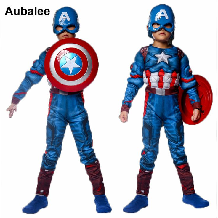 ==> [Free Shipping] Buy Best Child Captain America Muscle Costume Avengers Superhero Cosplay Costume Boys Kids Halloween Fancy Dress Outfit (Jumpsuitmask) Online with LOWEST Price | 32778560606