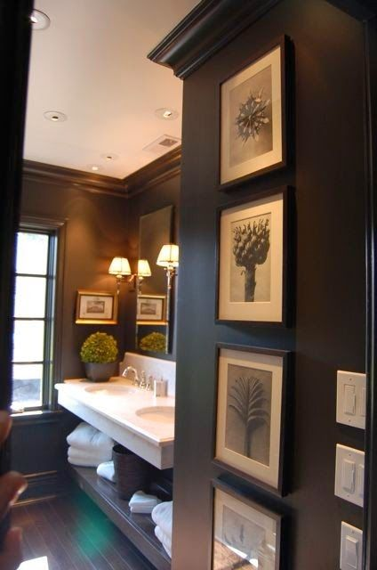Black Bathroom featuring framed photos. Are you looking for unique and beautiful art photo prints to create your gallery walls? Follow us on Instagram: @bx3foto and visit: bx3foto.etsy.com