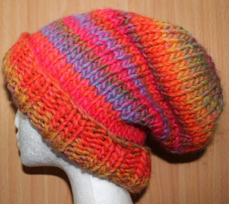 Slouchy pattern knitted in Katia Montezuma, lovely chunky yarn.