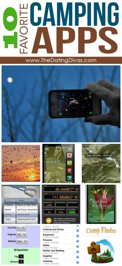 10 of the best camping apps! And lots of other top camping lists (activities, food, organizing, etc)