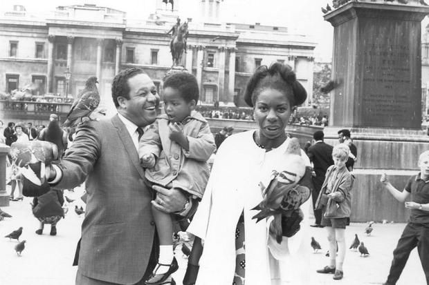 nina simone | Nina Simone in Trafalgar Square, London, 1968, with her second husband ...