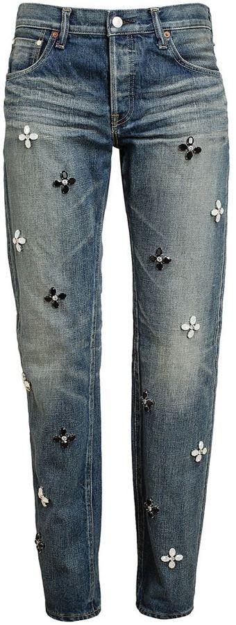 $1,177, Navy Embellished Jeans: Tu Es Mon Tresor Floral Embellished Boyfriend Jeans. Sold by farfetch.com.