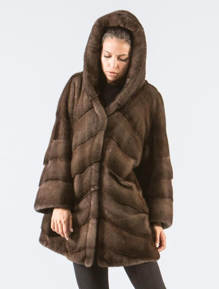 Coffee Brown Mink Fur Jacket With Hood    #brown #hooded #mink #fur #jacket #real #style #realfur #elegant #haute #luxury #chic #outfit #women #classy #online #store