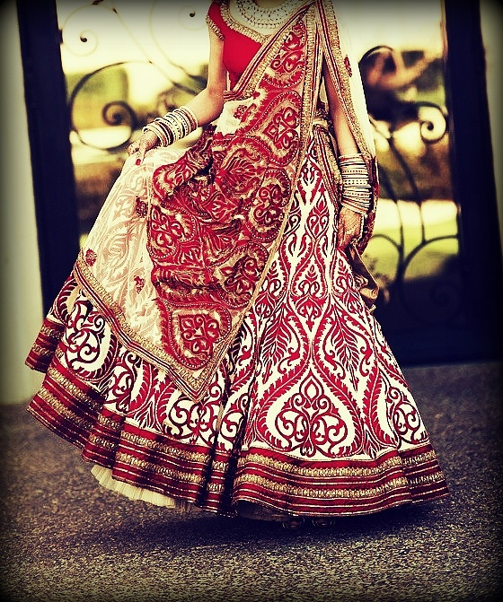 Gorgeous red and white floral bridal lehenga! #indianbride