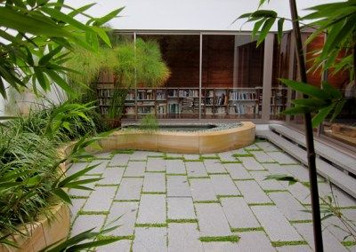 residential courtyardGreen Outdoor Spaces, Residential Courtyards, The Villas, La Angostura, El Bolson, Projects Houghton
