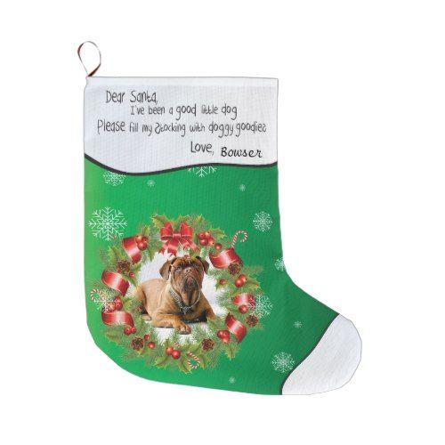 Green Xmas PHOTO FRAME for Your Dog's Photo Large Christmas Stocking