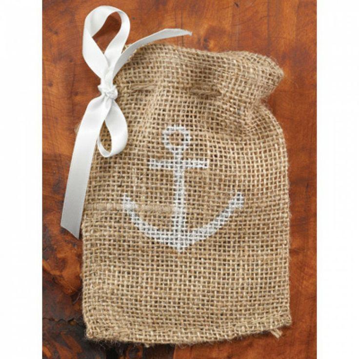 Burlap Favor Bags - Anchor Favor Bags (25 Bags) [424-20819 Burlap Anc ...