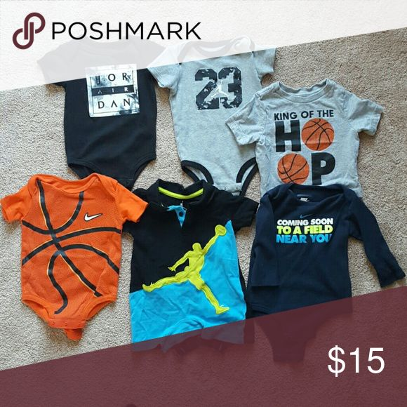 Jordan size 6-9months 3 Jordan's one piece 2 Nike one piece 1 children's place t-shirt  Everything  gently used, no stains or damage Jordan One Pieces