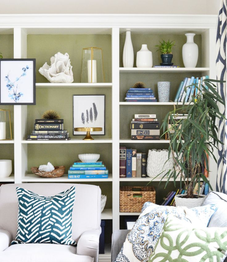 Awesome Painted Bookshelves Part - 9: Olive Green Painted Bookshelves