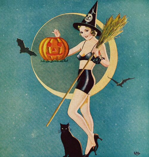 witch black cat bats and moon. Retro pin up Halloween art.
