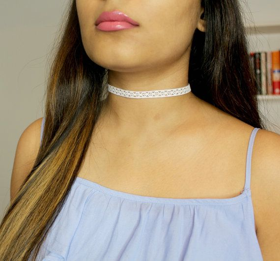 White Lace Choker  White Choker  Thin Choker  by GlamDiaries