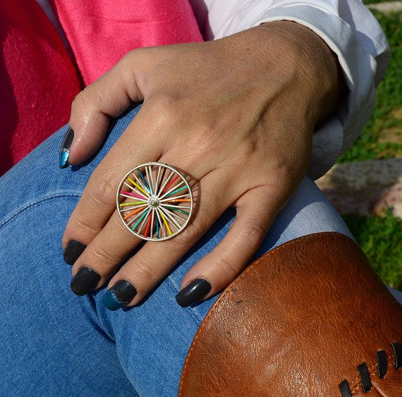 Wheel ringUnusual ringcolorful ringfor herfor by atermono on Etsy