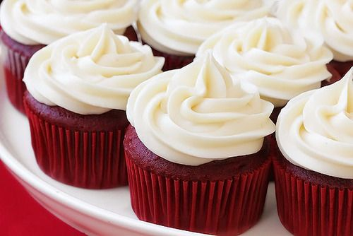 "Red Velvet Cupcakes with Cream Cheese Frosting. Original pinner said, ""I just"