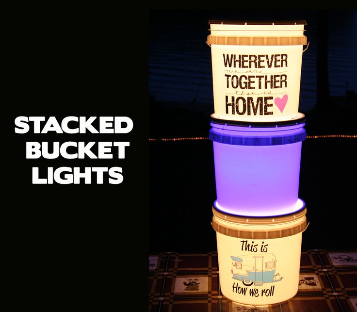 Stack your bucket lights with different colored bulbs for a lighted totem pole effect. Red, white and blue would be great for the Summer holidays.