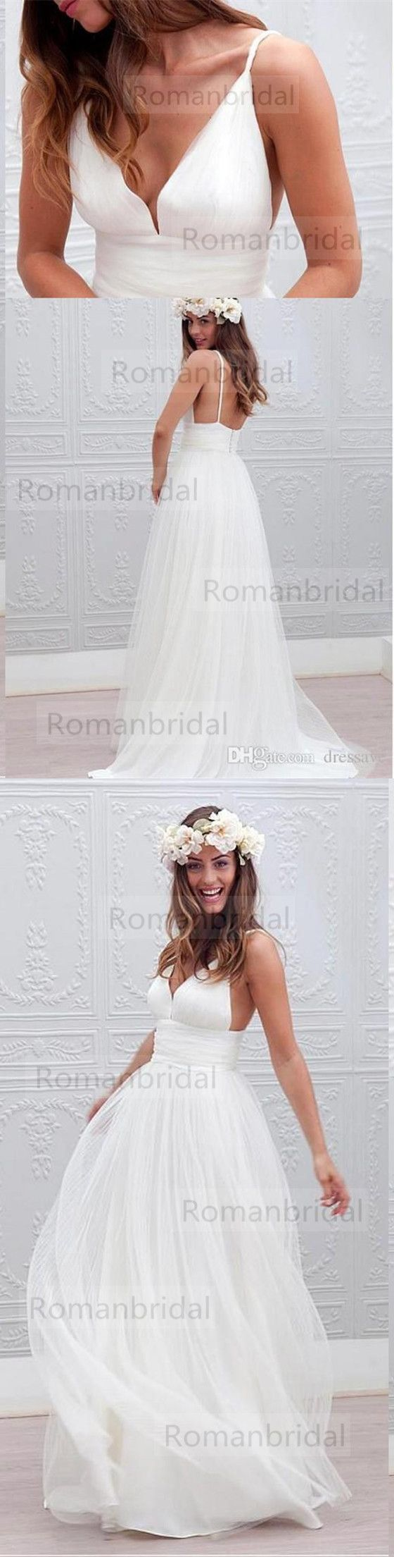 2018 Newest simple Floor-length white wedding dresses, Spaghetti Strap sleeveless elegant Deep V-neck Sexy Wedding Dress, WD0308