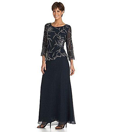 Jkara FloralBeaded Chiffon Gown #Dillards