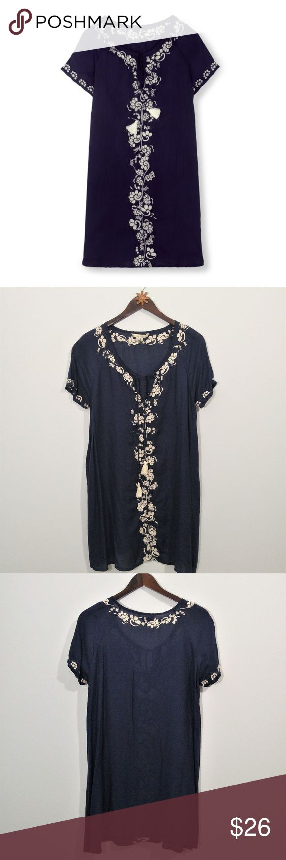 "Boden Corsica Kaftan Navy Blue / White Embroidery Gently pre-loved Boden Corsica kaftan in navy blue with white floral embroidery. Perfect on vacation, great at the beach or dressed up later.  Slightly sheer, very lightweight. Size 12 US  Approx measurements: Underarm to underarm 21"" Length shoulder to bottom hem 35""  Same day or next business day shipping. Offers always welcomed & bundles always discounted. ""Like"" my items for private flash sales! Thanks for looking :) Boden Dresses"