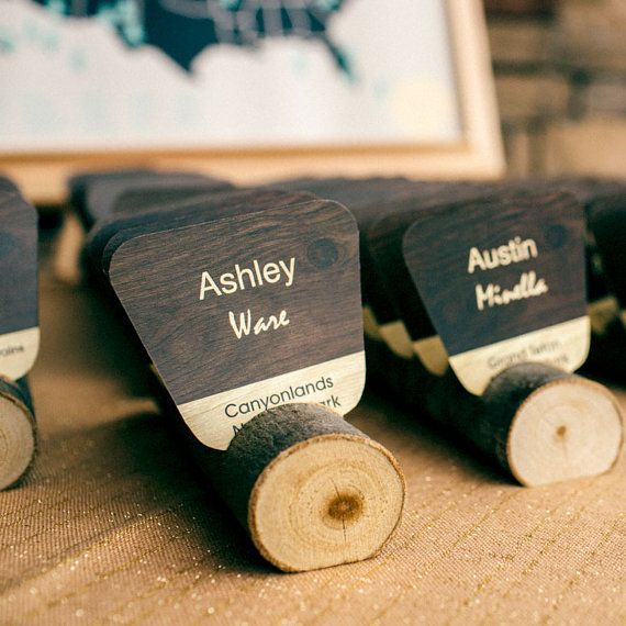 National Park Wedding Place Cards -- Escort Cards, Rustic Table Numbers, Seating…