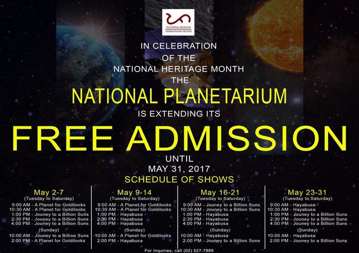 National Museum launches Planetarium projector The National Museum of the Philippines launches its new full dome Planetarium projector. Until April 30 there will be no charge for the shows.  Starting March 24 at 9 am visitors will be able to watch full dome shows from our upgraded facilities at the National Planetarium.