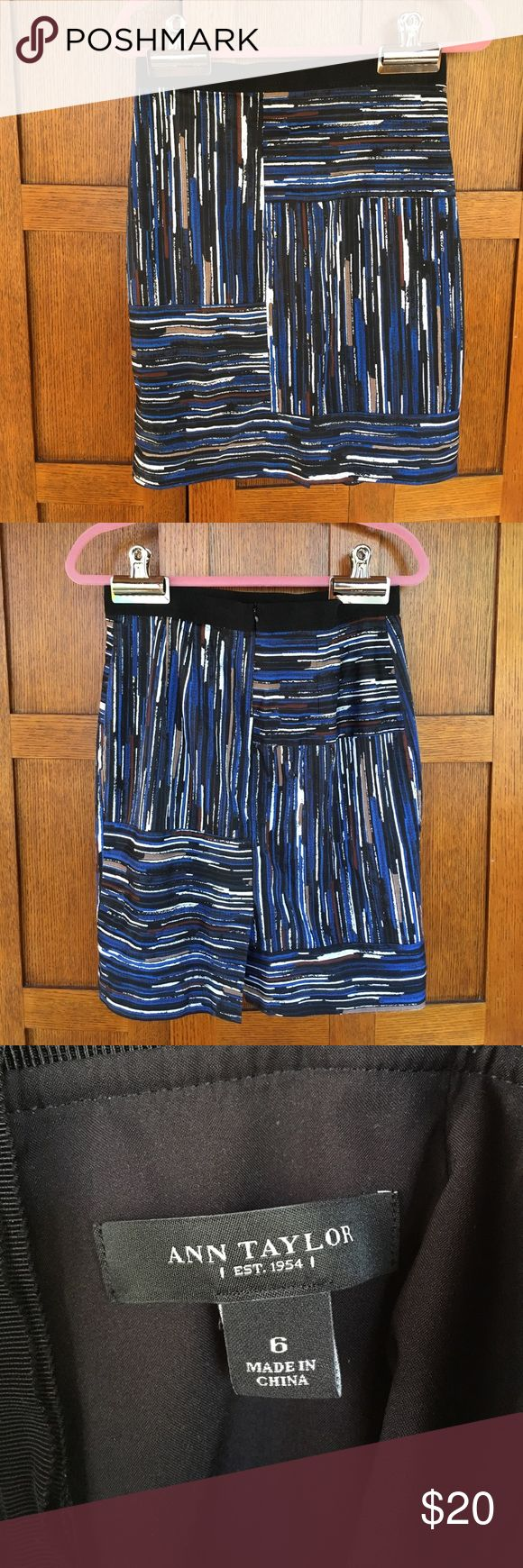 Ann Taylor blue pencil skirt, size 6 Blue and black striped pencil skirt with back slit. Lined. Great office skirt. Size 6 Ann Taylor Skirts Pencil