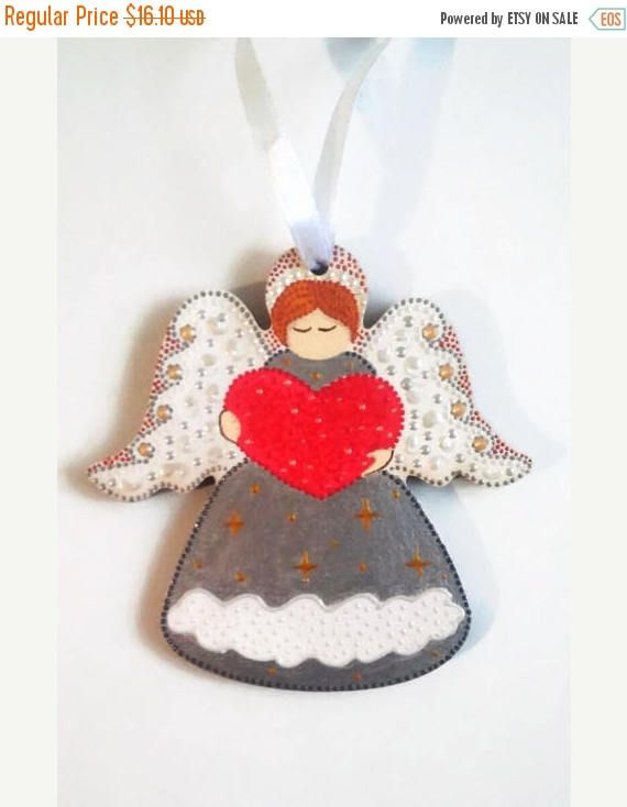 ON SALE Guardian angel Wooden Love angel Heart silver angel/Товары для дома  Декор для дома  Украшения для дома  Christmas Trees  wooden love angel  heart angel  silver angel red heart  Hand painted gift  baby room decor  Customise name  Personalized gifts  Guardian angel  cozy home gift gift for daughter  Christmas in july  Christmasinjuly
