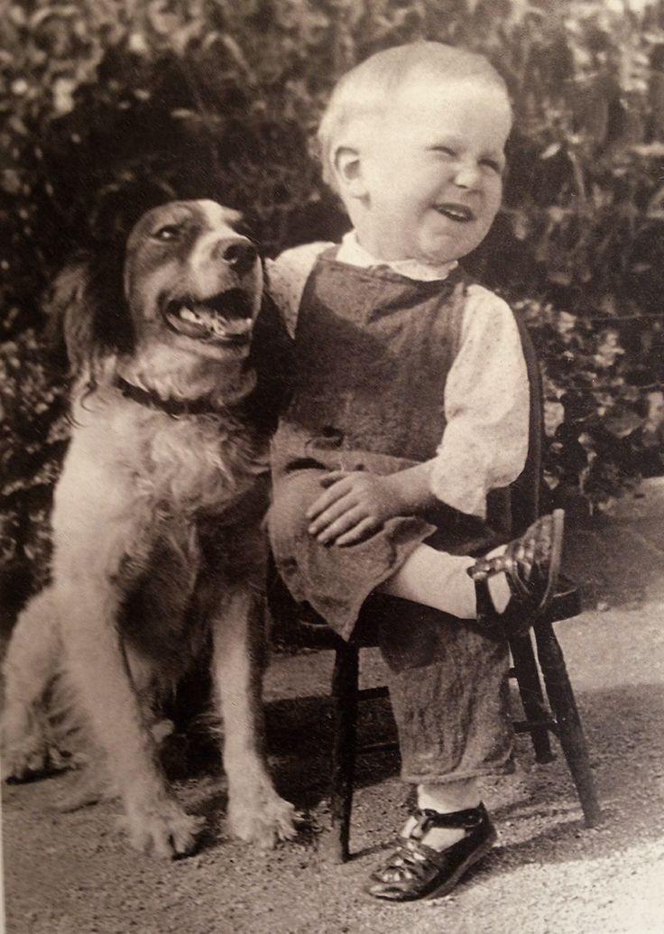 +~+~ Vintage Photograph ~+~+  Happy boy and his best friend