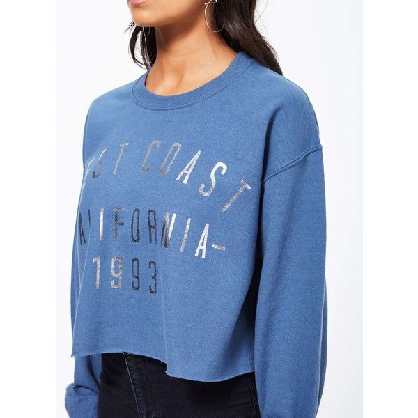 Miss Selfridge Blue West Coast Sweatshirt (4825 RSD) ❤ liked on Polyvore featuring tops, hoodies, sweatshirts, blue, slouchy tops, cut-out crop tops, slouchy sweatshirt, long sleeve tops and roll top